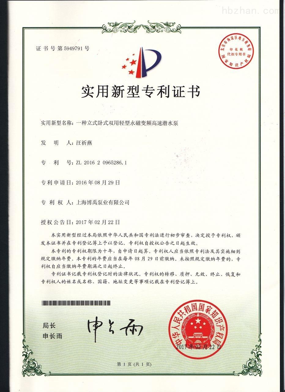 轻型潜水泵发明证书