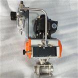 Q661F气动三片式不锈钢对焊球阀