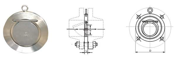 不锈钢单瓣式对夹止回阀结构图