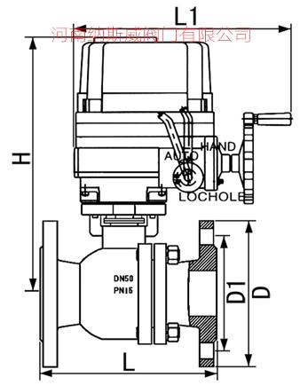 防爆电动衬四氟球阀结构图4