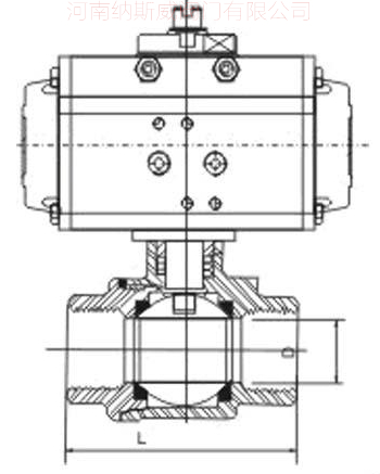 气动二片式内螺纹球阀结构图N